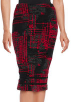 Helene Berman Abstract Printed Pencil Skirt
