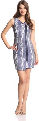 Andrew Marc Women's Sleeveless Front Zipper Rugged Animal Print Dress