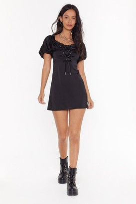 Nasty Gal Womens Lace Your Steps Satin Mini Dress - black - 4