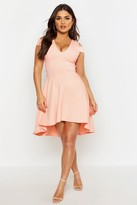 boohoo Clea Bardot Plunge High Low Skater Dress