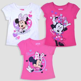 Mickey Mouse & Friends Toddler Girls' 3pk Disney Mickey Mouse & Friends Minnie Mouse Short Sleeve T-Shirt - Pink/White