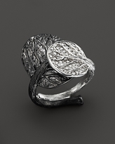 Michael Aram Sterling Silver Double Leaf Ring with White Diamond Pave
