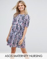 Asos NURSING Double Layer Dress In Blurred Animal Print