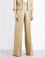 Etro Wide-leg metallic trousers