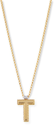 Roberto Coin Princess 18K Yellow Gold Diamond Initial Necklace, T