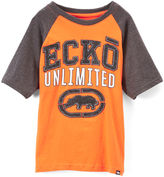 Ecko Unlimited Orange 'Unlimited' Raglan Tee - Boys