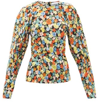 Ganni Crystal-button Puff-sleeve Floral-print Blouse - Multi