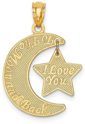 Curata 13.7mm 14k Love You To The Moon and Back Moon And Star Pendant