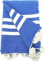 One Kings Lane Vintage Blue Wool Moroccan Pompom Blanket