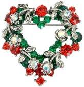 Winuxury Women's Elegant Christmas Flowers Heart Shape Brooches Diamante Poinsettia Costume Lapel Pin