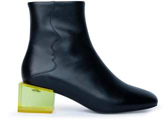 Unreal Fields Statuette - Black Leather Acrylic Heel Boots