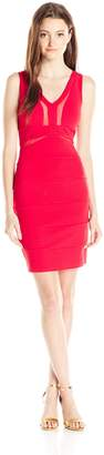 My Michelle Sequin Hearts Junior's V Neck Bandage Tank Dress with Mesh Cutouts
