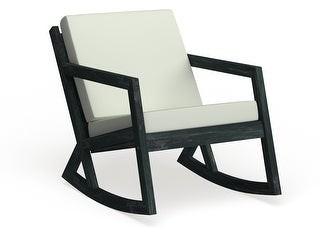 Safavieh Vernon Black Outdoor Rocking Chair w/ White Cushions