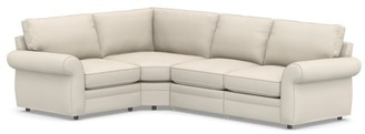 Pottery Barn Pearce Roll Arm Upholstered 4-Piece Reclining Sectional with Wedge