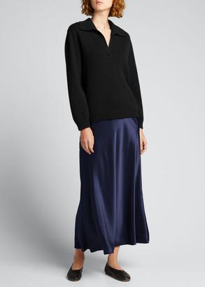 Vince Raglan-Sleeve Cashmere Polo Sweater