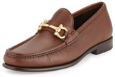 Salvatore Ferragamo Mason Pebbled Gancini Loafer, Light Brown
