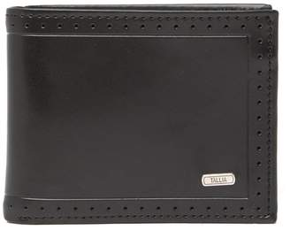 Tallia Bifold Leather Wallet with Perforated Trim