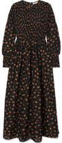 Ganni Beacon Shirred Floral-print Cotton And Silk-blend Maxi Dress - Black