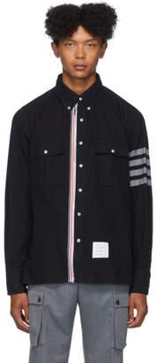 Thom Browne Navy Zip-Up 4-Bar Shirt