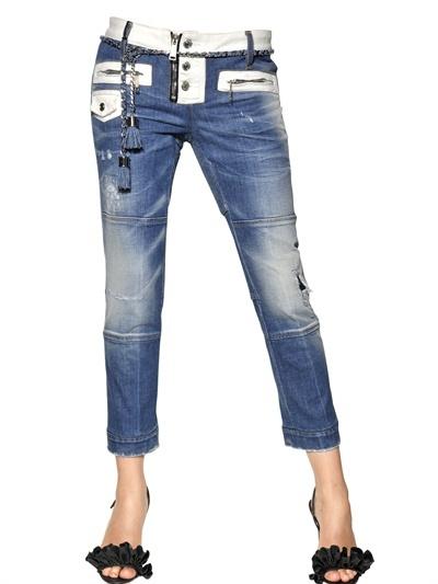 DSquared Stretch Cotton Denim Biker Jeans