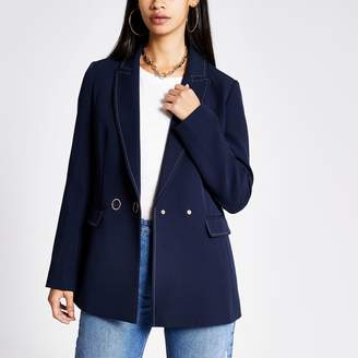 River Island Womens Navy contrast stitch double breasted blazer