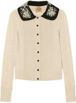 Tory Burch Bria embellished-collar wool cardigan