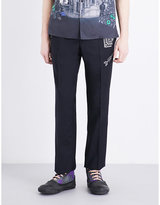 Lanvin Embroidered-detail Regular-fit Straight-leg Wool Trousers