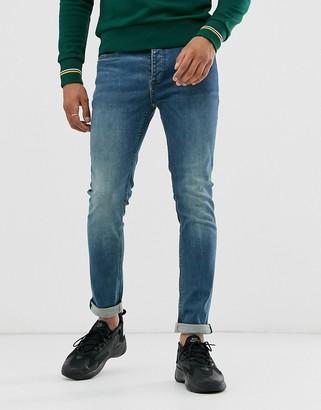 Topman skinny jeans in blue wash