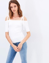 Miss Selfridge Tie Shoulder Bardot Rib Top