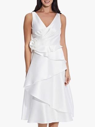 Adrianna Papell Mikado Rosette Tiered Midi Dress, Ivory