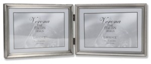 """Lawrence Frames 11575D Brushed Pewter Bead Hinged Double Picture Frame - 7"""" x 5 """""""