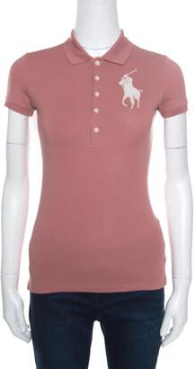 Ralph Lauren Blush Pink Cotton Beaded Logo Embellished Polo T- Shirt XS