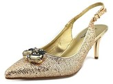 J. Renee Galletley-jj Women Pointed Toe Canvas Gold Slingback Heel.
