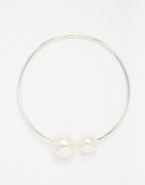 Nula Faux Pearl Silver Choker Necklace - Silver