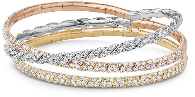 David Yurman Pavé Flex Three Row Bracelet with Diamonds in 18K Gold