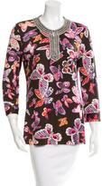 Tory Burch Silk Butterfly Print Top