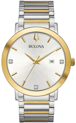 Bulova Men's Modern Diamond Accent Two-Tone Bracelet Watch