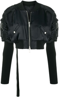 Unravel Project Ruched-Sleeve Cropped Jacket
