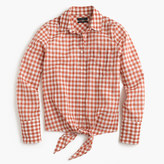 J.Crew Tall tie-front boy shirt in gingham