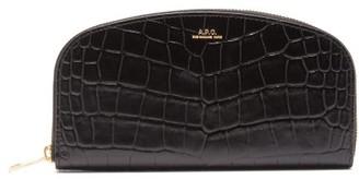 A.P.C. Half Moon Crocodile-effect Leather Wallet - Womens - Black