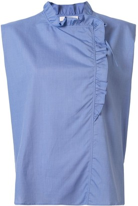Atlantique Ascoli ruffle neck blouse