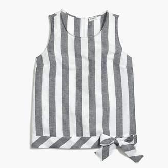 J.Crew Printed tie-waist top in linen-cotton
