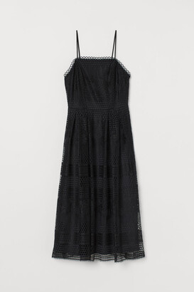 H&M Calf-length Lace Dress - Black
