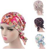 Ever Fairy 3 Colors Pack Pre Tied Head Scarf Hat Ethnic Print Turban Headwear Women Stretch Flower Muslim headscarf