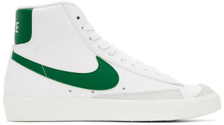 Nike White and Green Blazer Mid 77 Vintage Sneakers