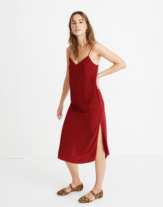 Madewell Silk Side-Slit Slip Dress