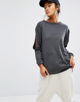 Daisy Street Longline Top With Cold Shoulder Split Sleeves