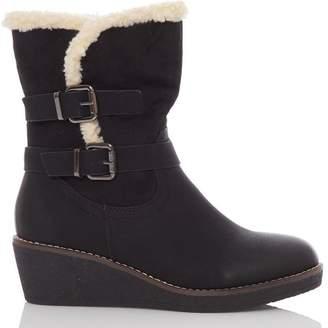 Quiz Black Faux Suede Wedge Calf Boots