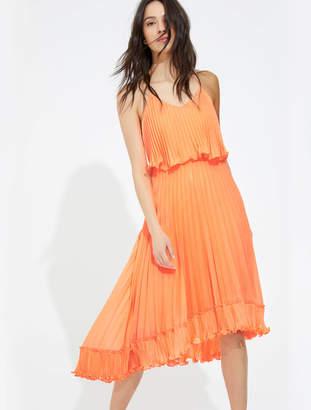 Halston Pleated burout georgette dress