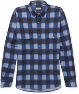 Camoshita Button-Down Collar Checked Cotton Oxford Shirt